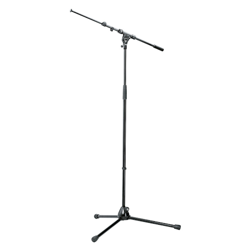 K&M 210/9 Tall Microphone Stand with Telescopic Boom - Black